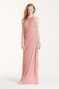 David's Bridal: Long Mesh Dress with Illusion Neckline ...