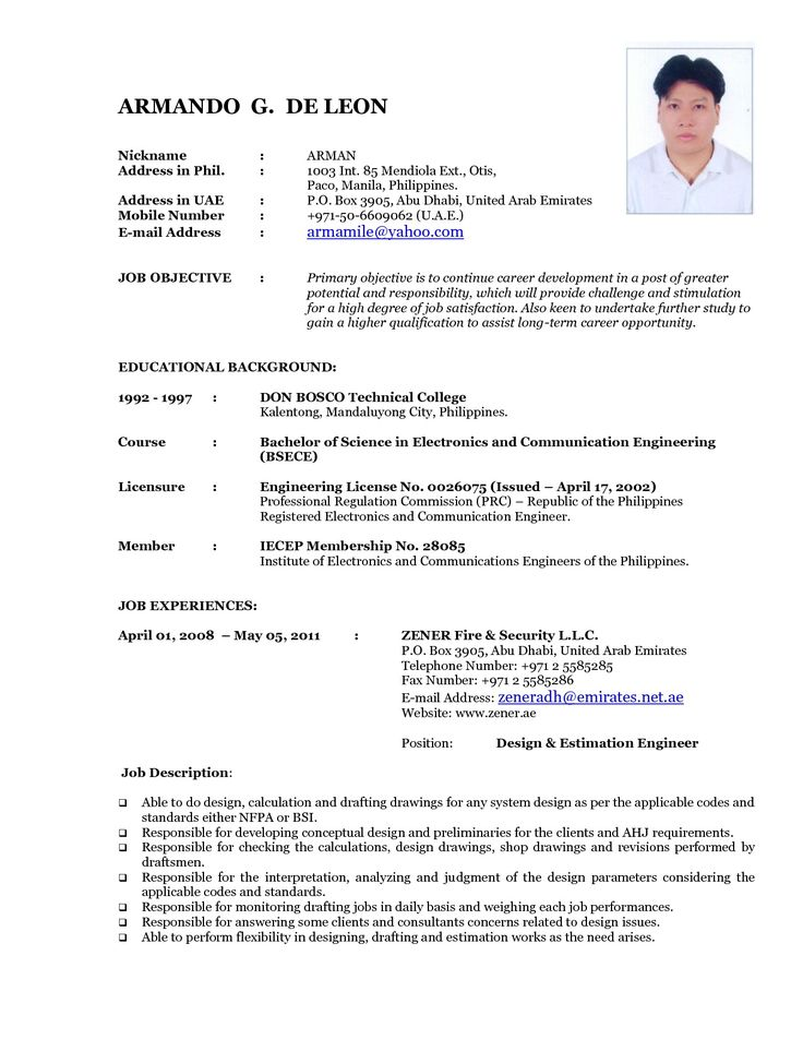 Update Resume Format Updated Resume Format 2016 Updated Structure