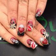 red and black stilleto nail design