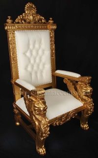 Winged Lion Throne Chair - Gold paint with white ...