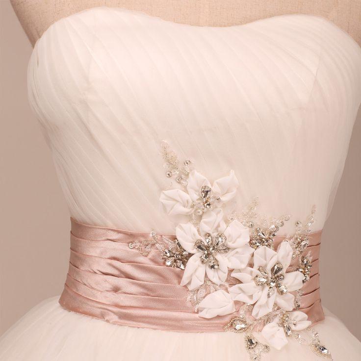 Scoop neckline princess A-line wedding dress with colored belt