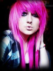 pink emo dual monroe & nose piercing