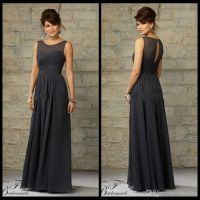 A Line Illusion Neckline Sheer Keyhole Back Floor Length