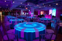 so cool. light up table with a colored table cloth ...