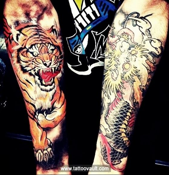 20 Dragon Japanese Tiger Tattoos Forearm Ideas And Designs