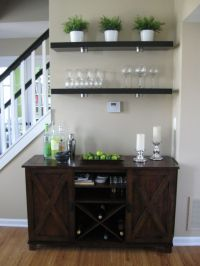 Living room bar area - Ikea Lack shelves, World Market ...