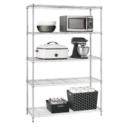 Adjustable 5 Tier Wire Wide Shelving Unit Chrome Room