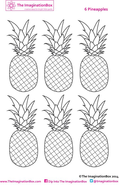 Six pineapples to color, make into mini bunting if you