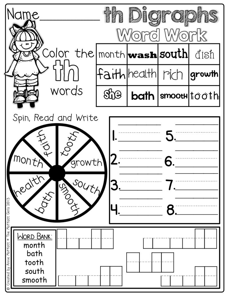 Digraphs Word Work! Color the digraph words, spin and
