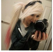 long blonde hair pink tips ponytail