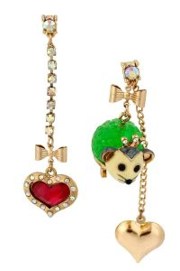 Betsey Johnson Possum & Heart Mis-Match Earrings - looks ...