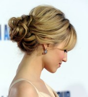 messy bun with side cut hairs bridal