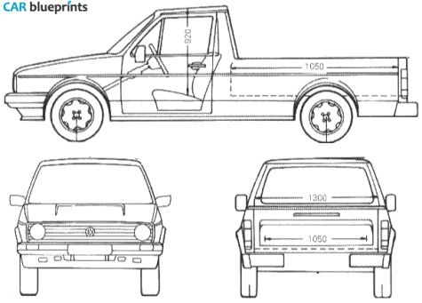 CAR blueprints / 1990 Volkswagen Caddy Pick-up blueprint