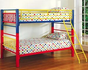 Metal bunk bed yellow blue and red  For the Home