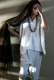 ankle length long black hair. volkosh