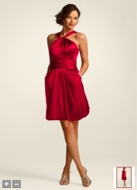 Bridesmaid dress in apple red from Davids Bridal
