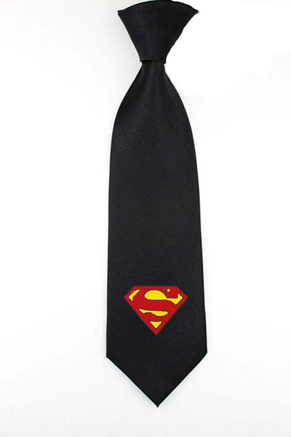 Embroidered Superman superhero logo necktie mens ties by