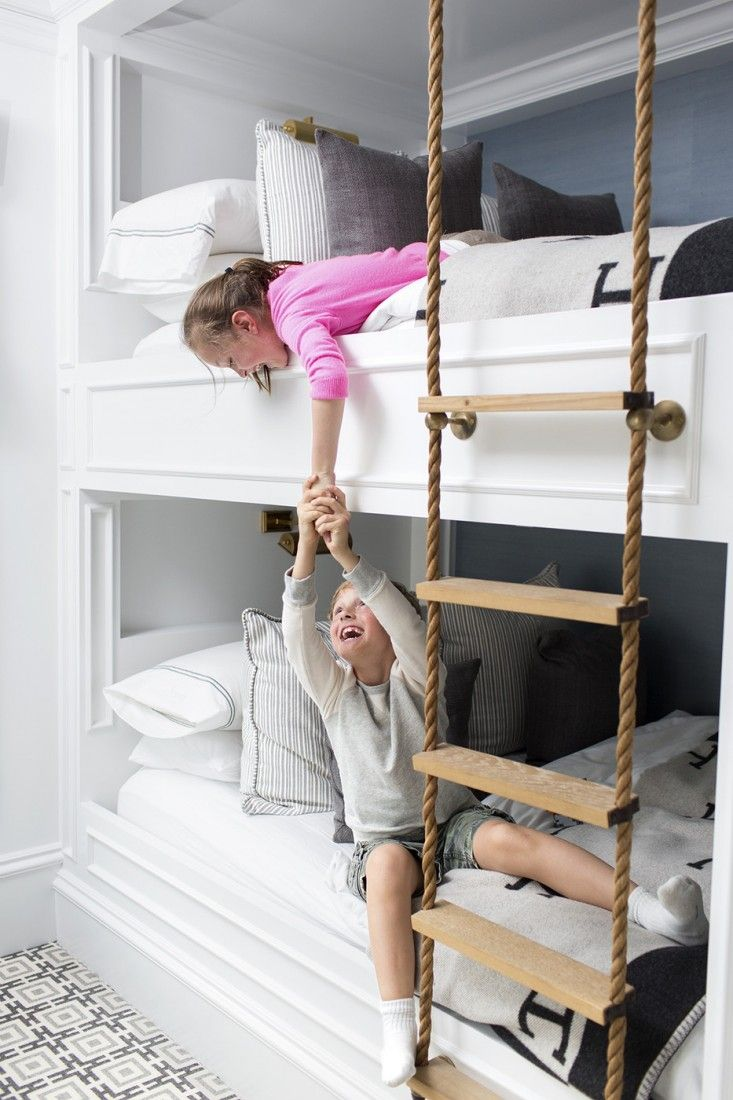 Inspiration  Built in bunks Curtain hardware and Rope ladder