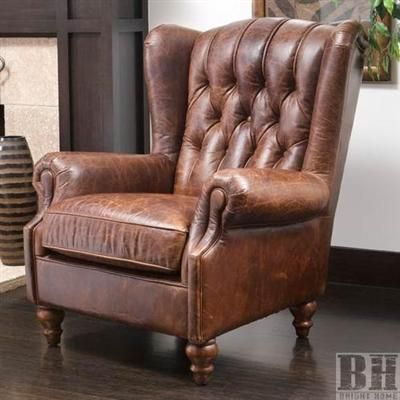 Bright Home Haifa Tufted Vintage Leather Wing Back Club