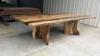 Rainbow Poplar Live Edge Slab Dining Table with matching V ...