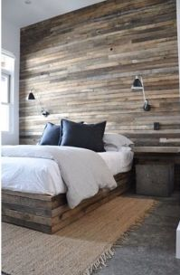 Salvaged plank wood plank bed & accent wall | http://www ...