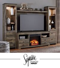 Trinell Entertainment Wall - Fireplace Insert Option - TV ...