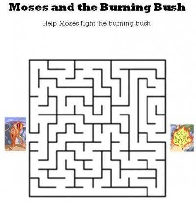 Moses to Burning Bush Maze http://www.kidsbibleworksheets