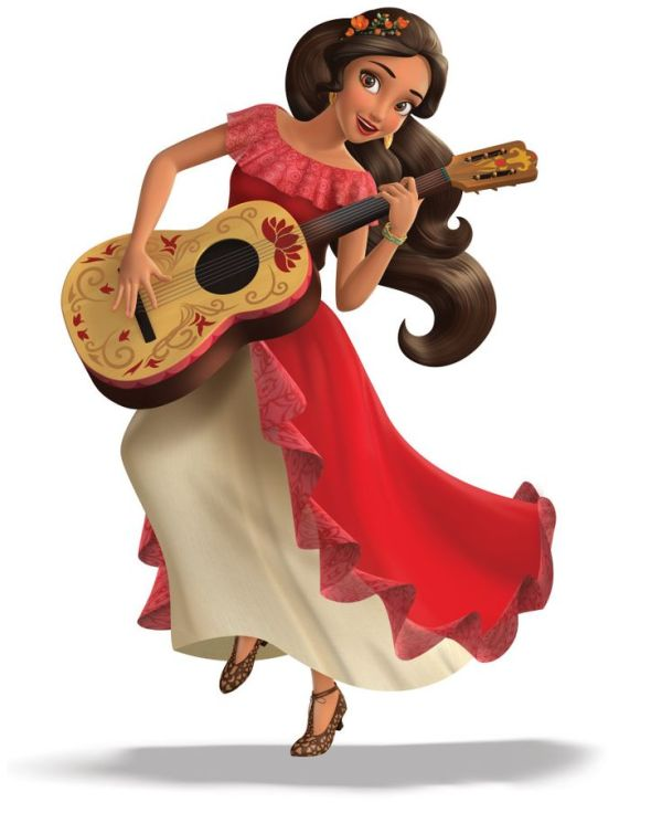 Elena of Avalor dancing with and playing the guitar