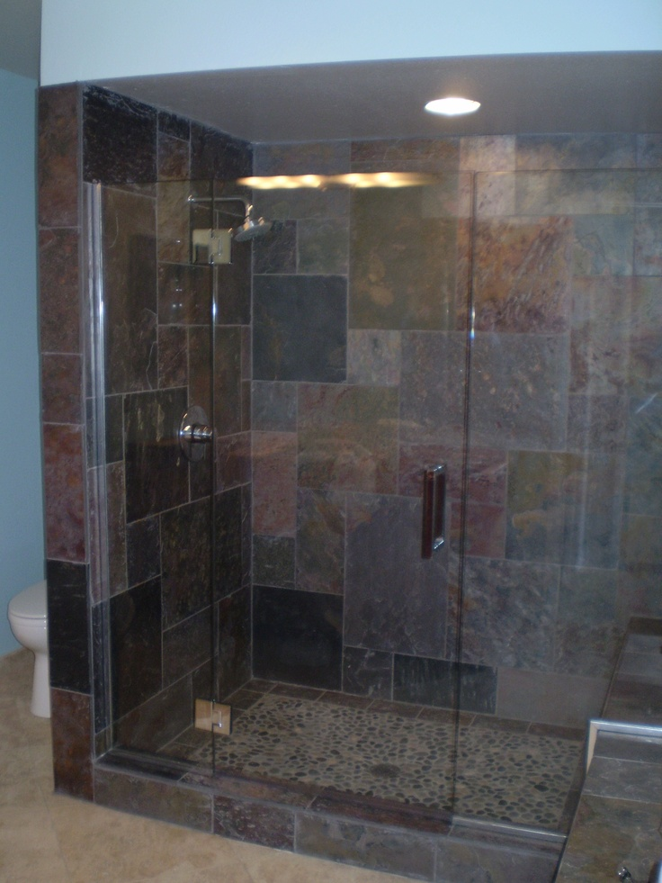 clean mordern glass shower doors with slate tile Like the