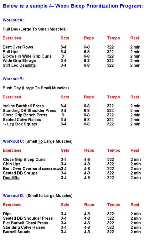 gym exercises weekly chart