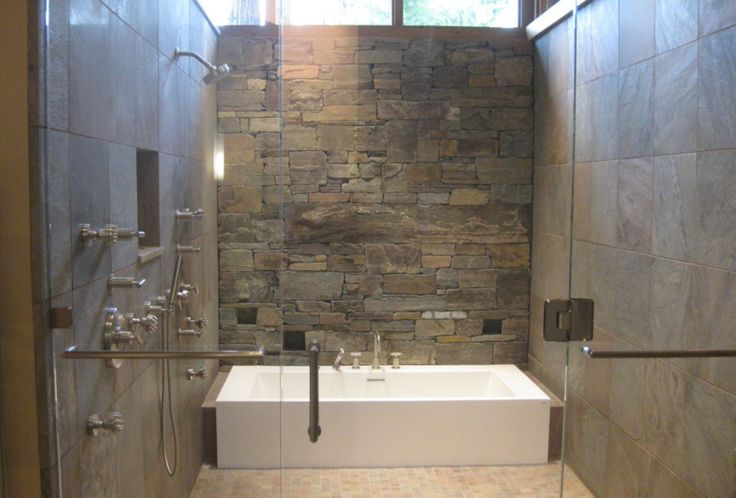 stone veneer wet room  Bathrooms  Pinterest  Stones