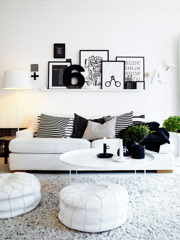 Ikea Ribba picture ledge… Think Id like to do this in living room, make it eas