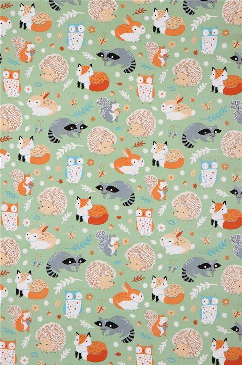 Cute Penguin Wallpaper Iphone Green Forest Animal Clothworks Organic Fabric Critter