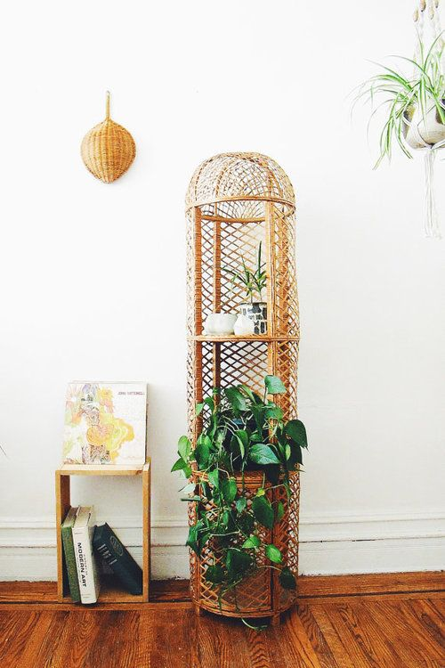 Vintage Wicker Plant Stand  Tall Rattan Shelf  Stand in Rattan and Bamboo shelf