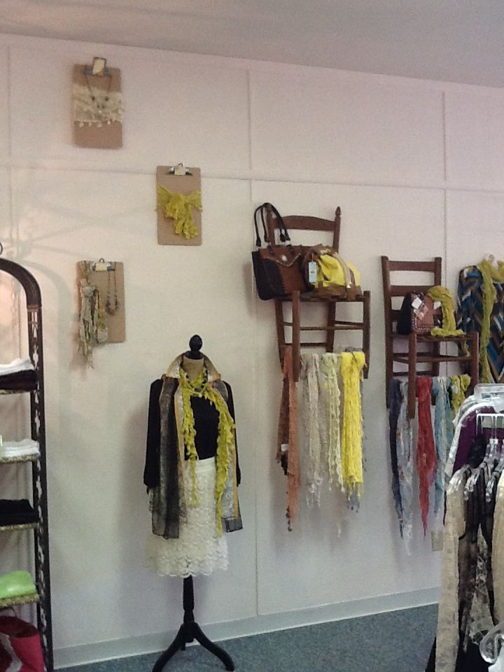 Clip boards for necklace  scarf display  Displays  Pinterest  Scarf display Scarfs and Display