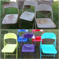 Painted metal folding chairs. Great idea! | Crafty DIY ...