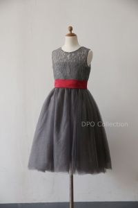 Grey Lace Flower girl Dress Baby Girl Dress with by ...