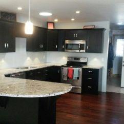 German Kitchen Cabinets Island Sale Espresso Cabinets, Dark Hardwood Floors, Alaskan White ...
