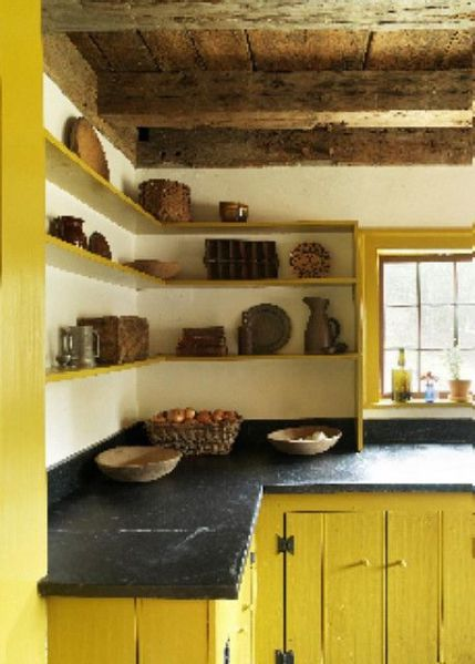 open rustic kitchen cabinets open shelves & soap stone counter tops | KITCHEN
