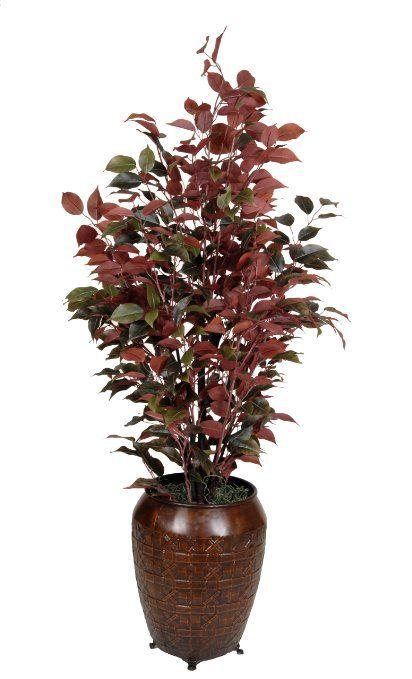 Amazoncom  Artificial Ficus Tree in Decorative Vase Plant Color Red Ficus  Artificial Flora