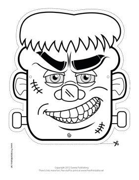 Frankenstein Monster Mask to Color Printable Mask, free to