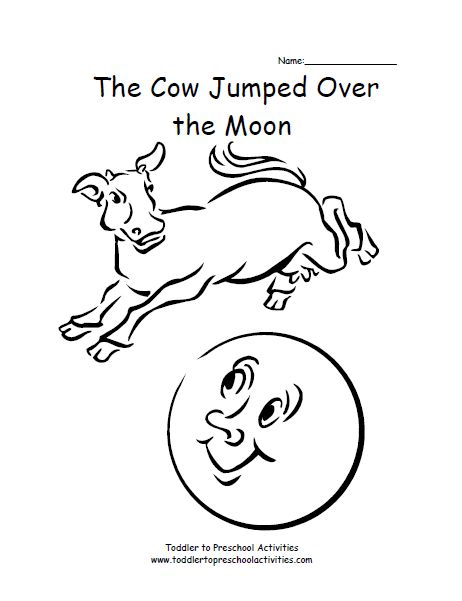Cow Jumping Over Moon Coloring Coloring Pages