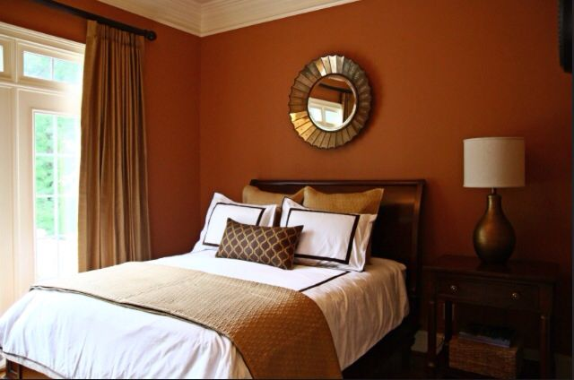 Discover 25 guest bedroom ideas, essentials, and style inspirations to curate a guest bedroom that'll look. Burnt orange walls! bedroom. | Decorating and Design