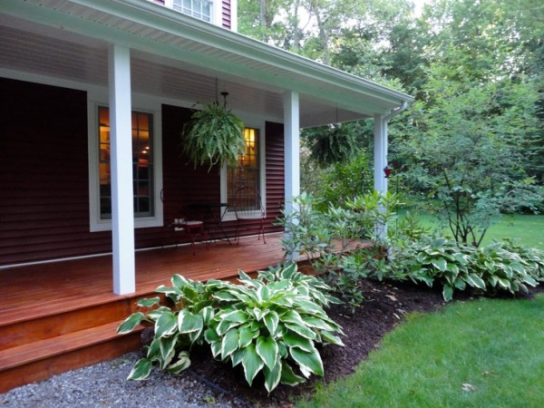 front landscaping with hostas