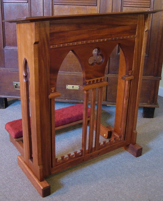 church chair with kneeler lifetime chairs warranty custom mahogany prie dieu gothic arches | bssd: prayer room pinterest and