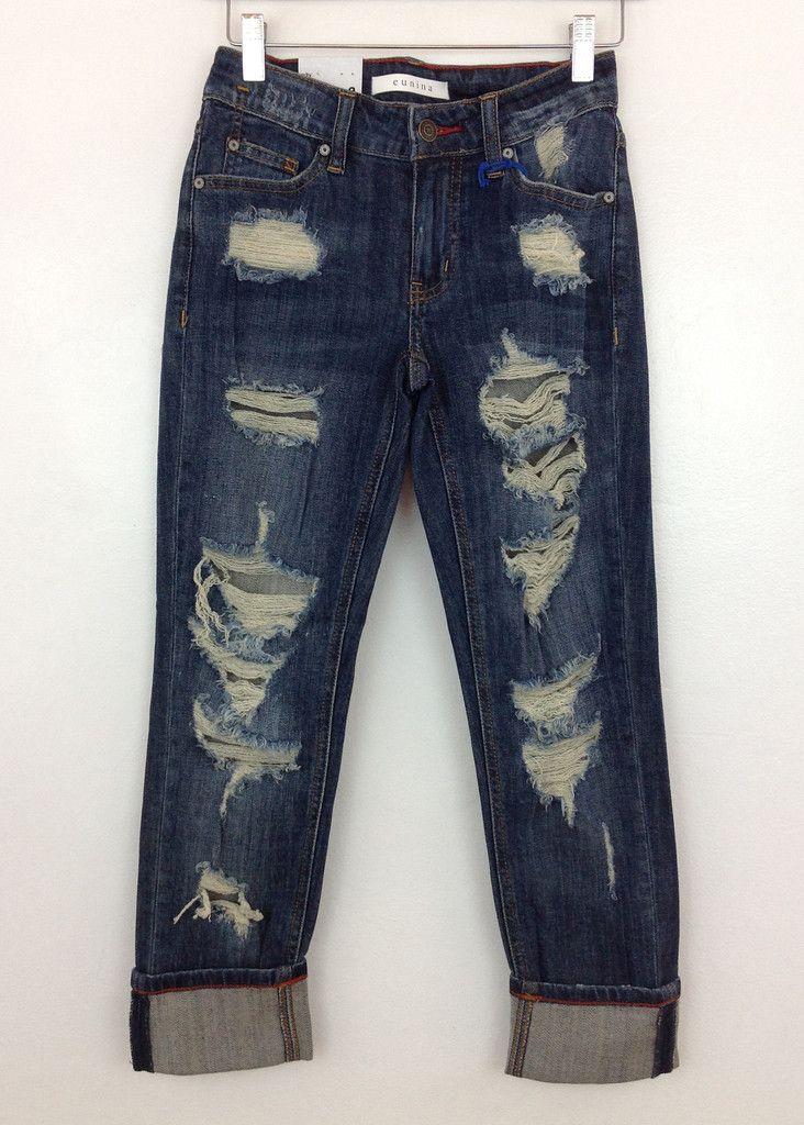 Boyfriend dark wash distressed jeans  Distressed jeans