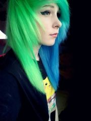 awesome blue and green hair. scene