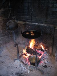 Old Dark Kettle Cooking Fireplace Crane Hot Flame Rustic ...