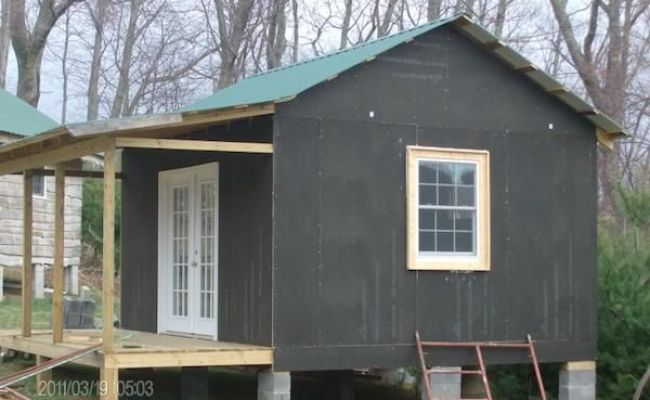 French Doors On Tiny Cabin How To Build A Mortgage Free