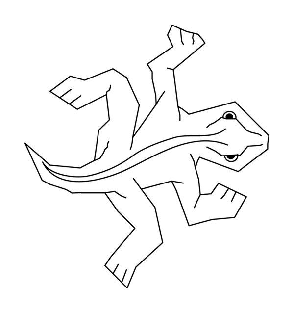 Simple black-on-white line art of Escher's famous lizard